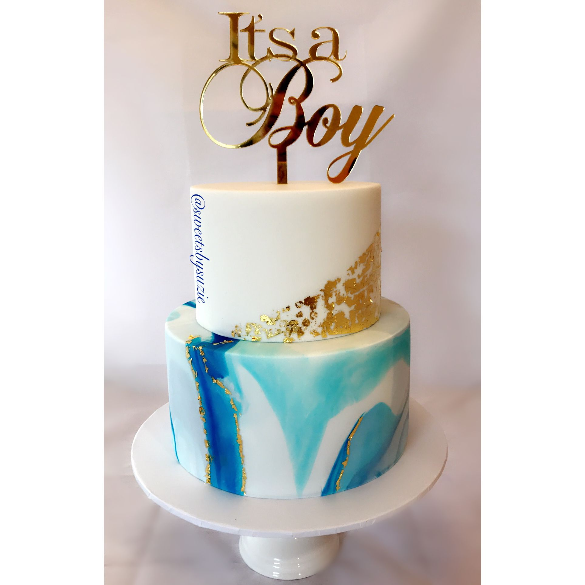 Its A Boy Baby Shower Cake Blue Marble And Gold