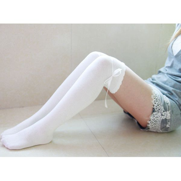 aafaad4f0 100% Cotton Socks White Thigh High Socks Cute Socks With Self Tie ...