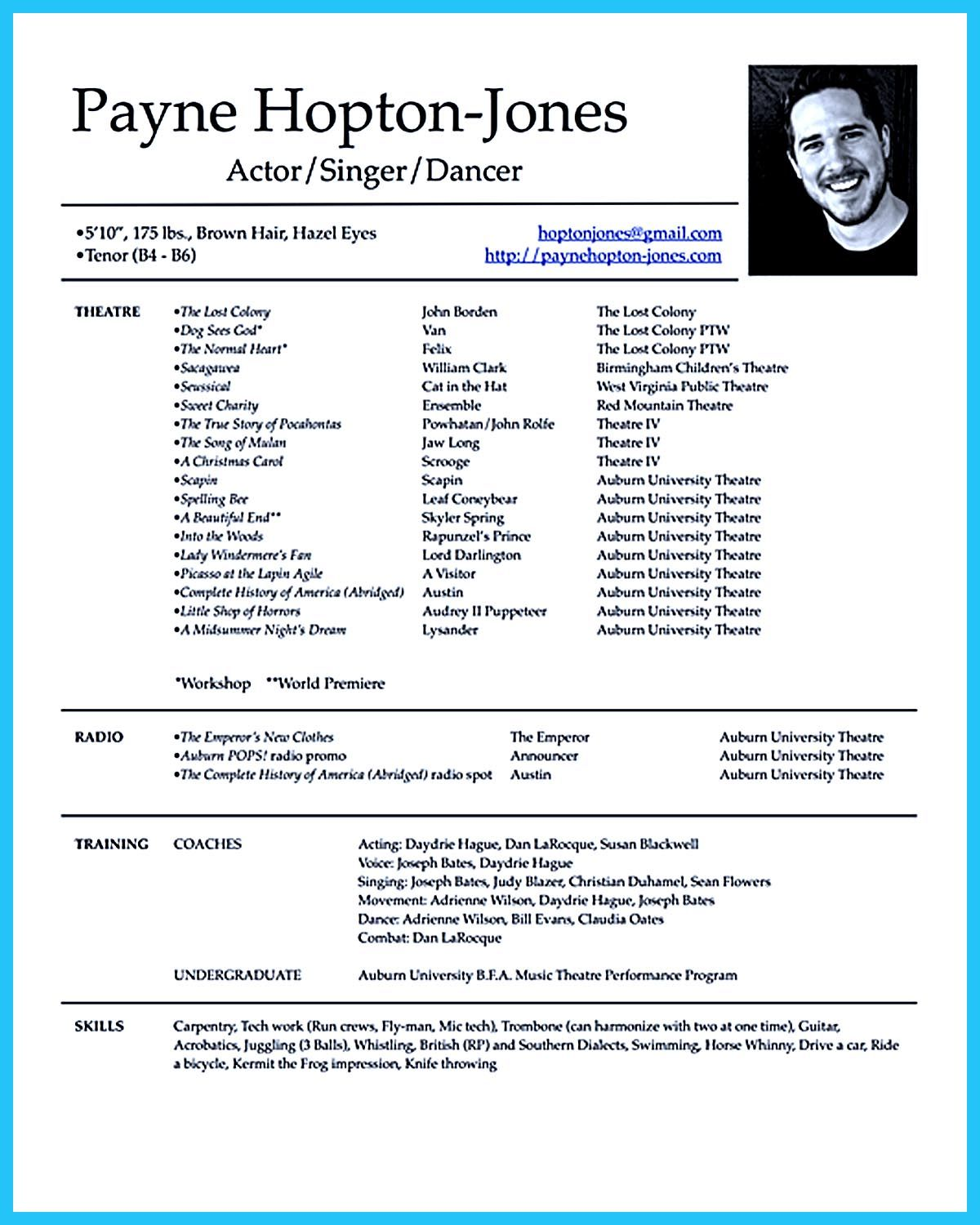 Theatre Resume Template Actor Resume Template Gives You More Options On How To Write Your