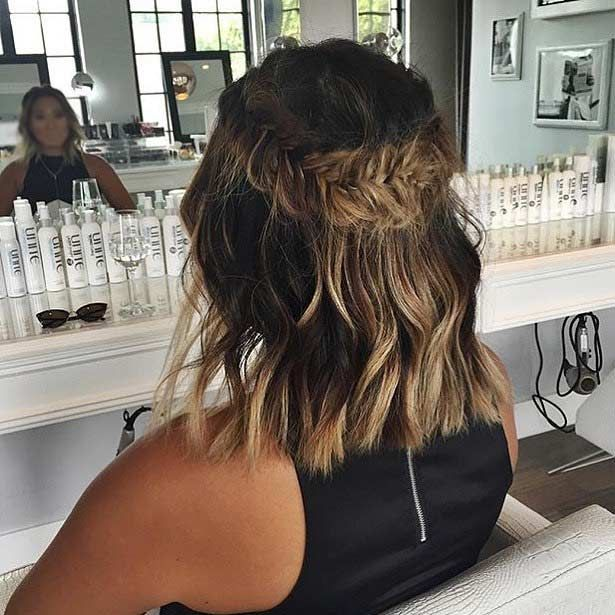 17 Chic Braided Hairstyles For Medium Length Hair Bridesmaid Hair Half Up Medium Medium Length Hair Styles Short Hair Syles