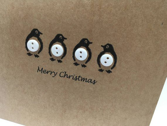 Set of 12 Penguin Christmas Card - Penguin Card - Buttons - Cute Penguins - Handmade - Pack of Christmas Cards - Christmas Card Pack - Set