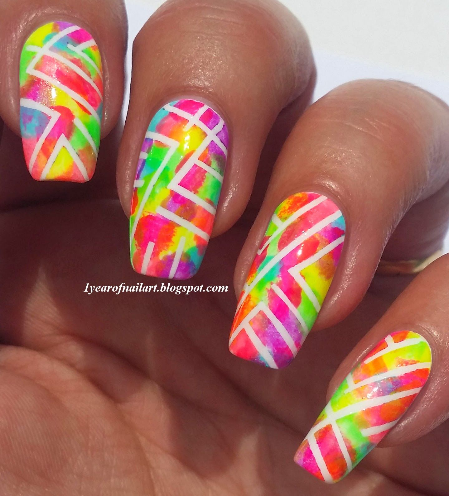 Abstract neon nails #prom nail art | nailed it | Pinterest | Neon ...