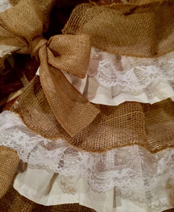 Christmas Tree Mixture Part - 27: Beautiful Lace And Burlap Tree Skirt! Mixture Of White, Lace And Burlap  Makes The Perfect Country Chic, Rustic Addition To Any Christmas Tree.