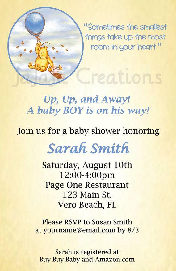 Classic Pooh Series Baby Shower Invitation - Winnie the Pooh Disney ...