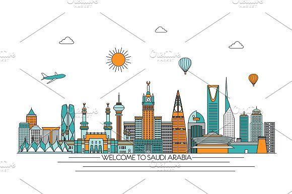 Saudi Arabia Line Skyline Illustration Artwork Inspiration Illustration Artwork Doodle Drawings