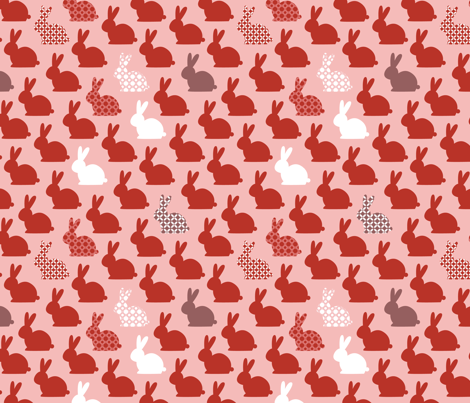 lapins-rouges fabric by milto42