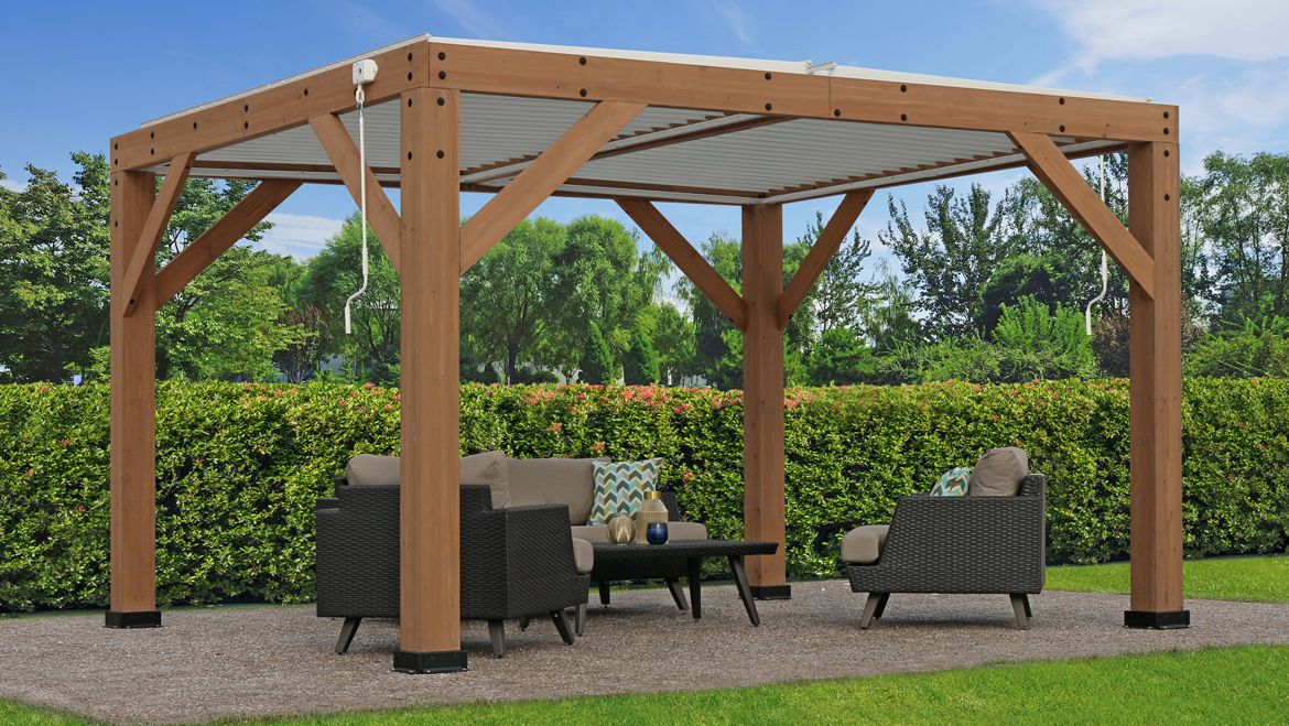 13 X 11 Wood Room With Louvered Roof - Yardistry ...