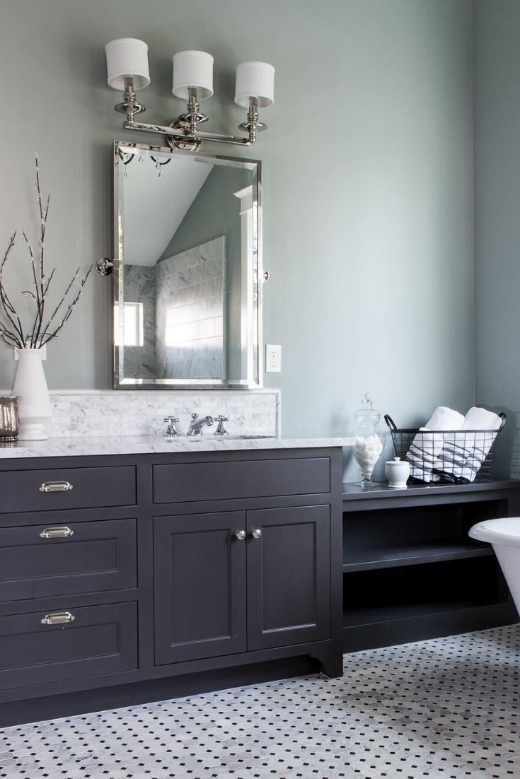 Top 10 Double Bathroom Vanity Design Ideas Grey Bathroom Vanity Grey Bathroom Cabinets Traditional Bathroom [ 1102 x 735 Pixel ]