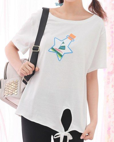 6c522e763f52f Stars drift bottles t shirts for teenage girls white tie front tops ...