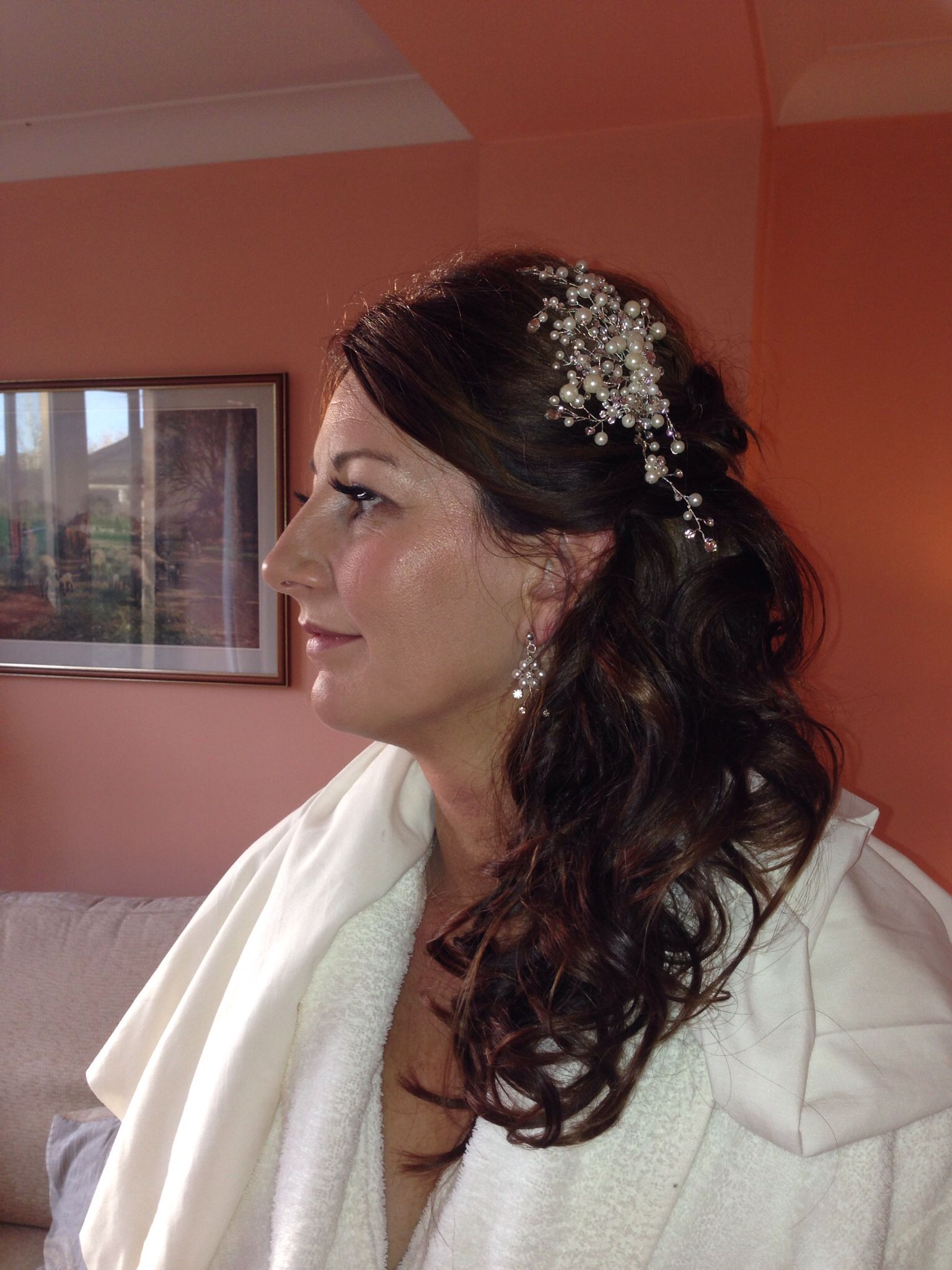 bridal hair - curled and pinned to the side | bridal hair by