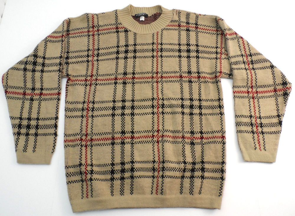 610ac872c951 Vintage Burberry London Plaid Crewneck Sweater Mens Size Large L USA  Acrylic  BurberryLondon  Crewneck