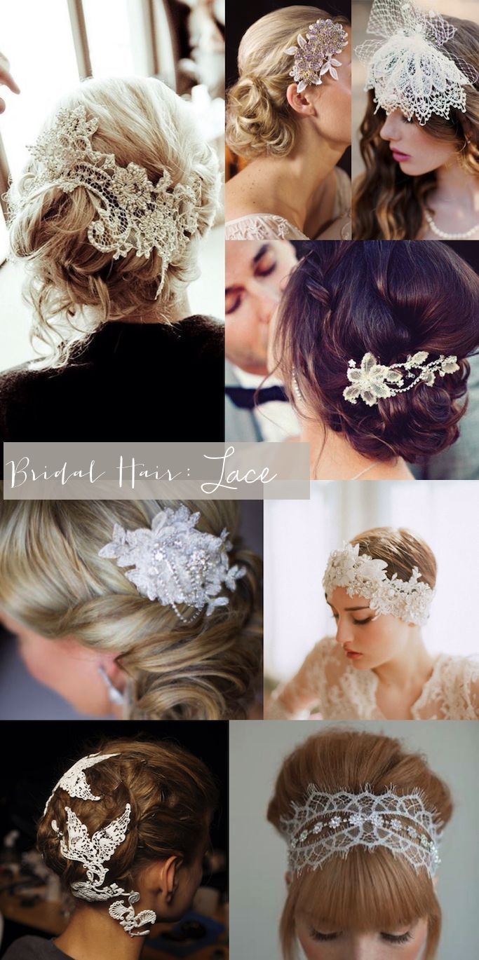 bridal style: lace hair-pieces - glitter, inc. | wedding