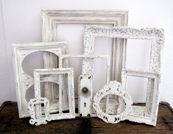 White Picture Frame Set Of 8 Shabby Chic Wall by SeaLoveAndSalt ...