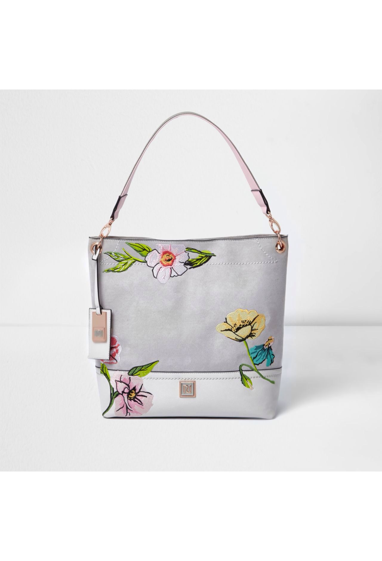 2fe4e8cfada7 Checkout this Grey floral embroidered slouch bag from River Island .
