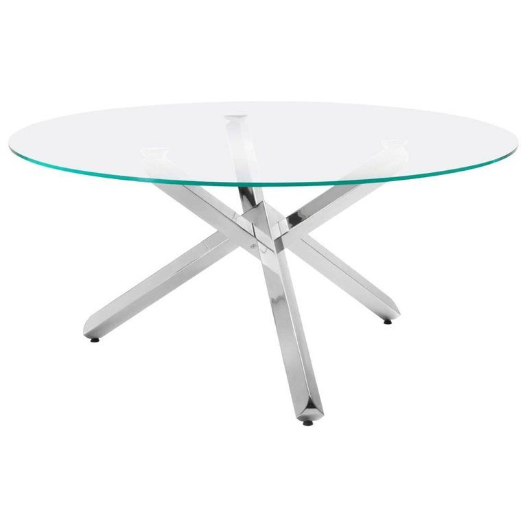 Modern Italian Dining Table With Glass Round Top And Chrome Cross