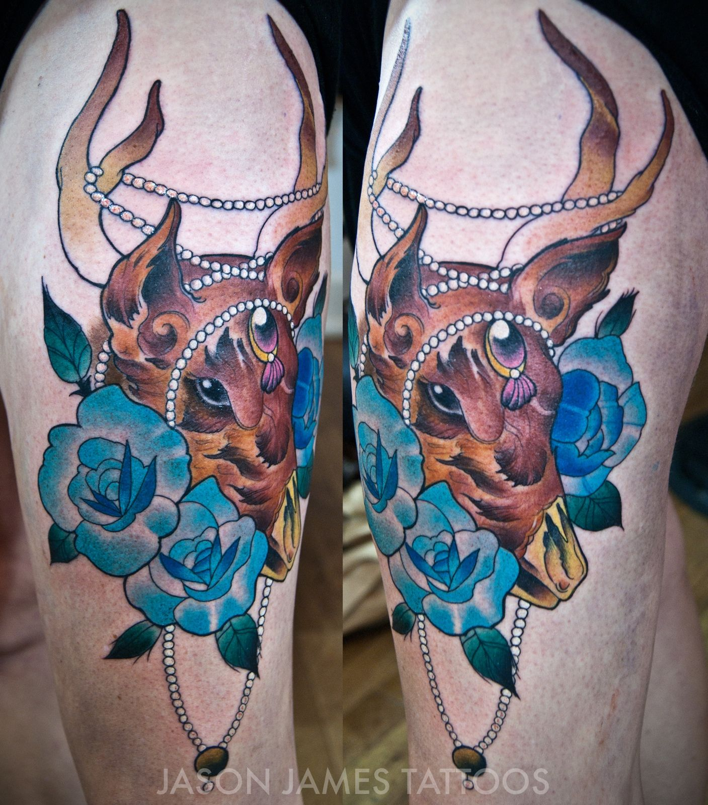 Neo Japanese Tattoo: Neo Traditional Deer And Roses Tattoo By Jason James At