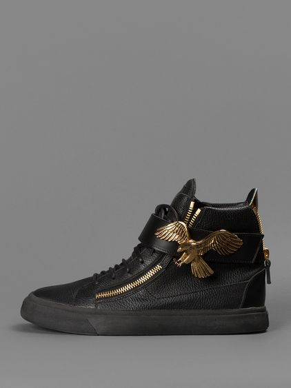 GIUSEPPE ZANOTTI HIGH TOP SNEAKER WITH AGUILA VELCRO STRAP AND TWO FRONT  ZIPS