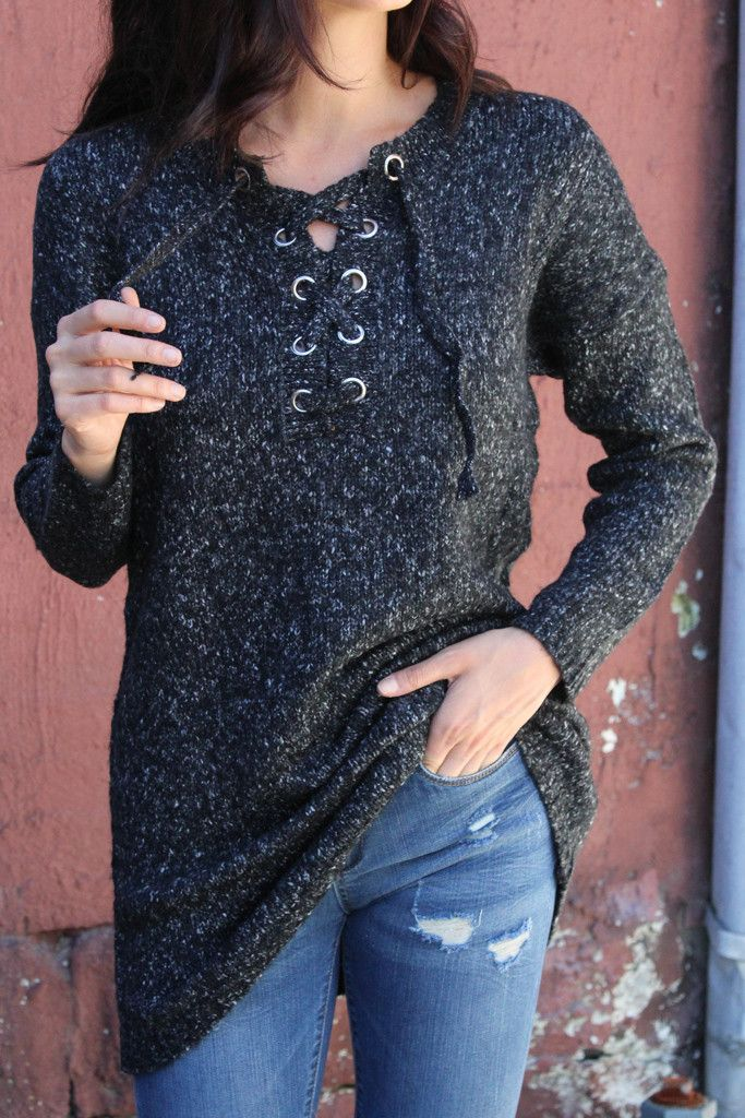 Tough Love Lace Up Sweater