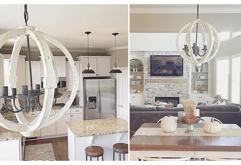 Distressed White Wood Orb Chandelier
