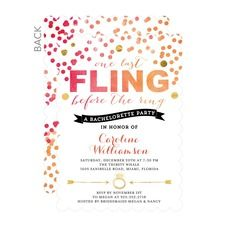One Last Fling Bachelorette Invitations BACH PARTY Pinterest