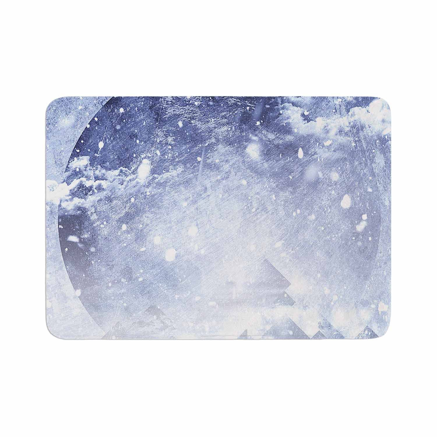 "Ulf Harstedt ""Even Mountains Get Cold"" Blue White Memory Foam Bath Mat"