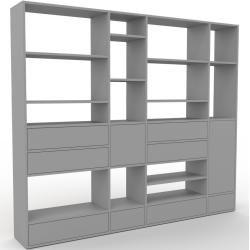 Photo of Wohnwand Grau – Individuelle Designer-Regalwand: Schubladen in Grau & Türen in Grau – Hochwertige Ma