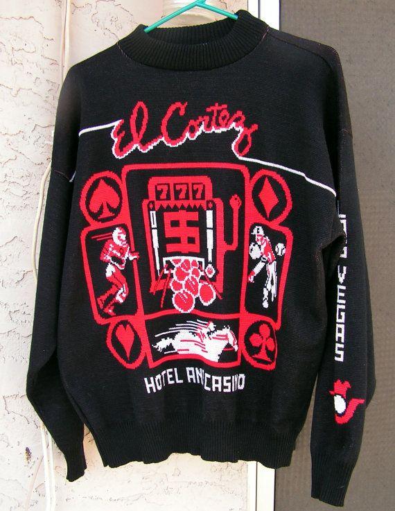 Vintage El Cortez Casino Sweater / Logogistix Novelty Sweater / Las Vegas Casino Shirt Men's XXL / Red Black White