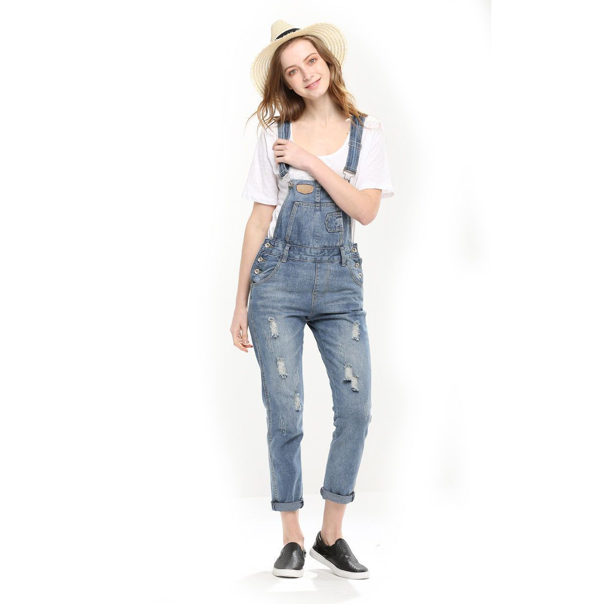 Women's Clothing 100% True Casual Womens Spaghetti Strap Overalls Jumpsuits Sleeveless Playsuit Jeans Denim Loose Long Wide Pants Rompers Trousers Hot Strong Packing