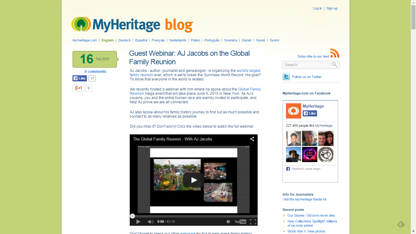 Tuesday's Tip Check Out MyHeritage Webinars and Videos