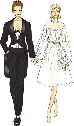 Lesbian Wedding with Tuxedo and Dress | Love Birds S&T | Pinterest