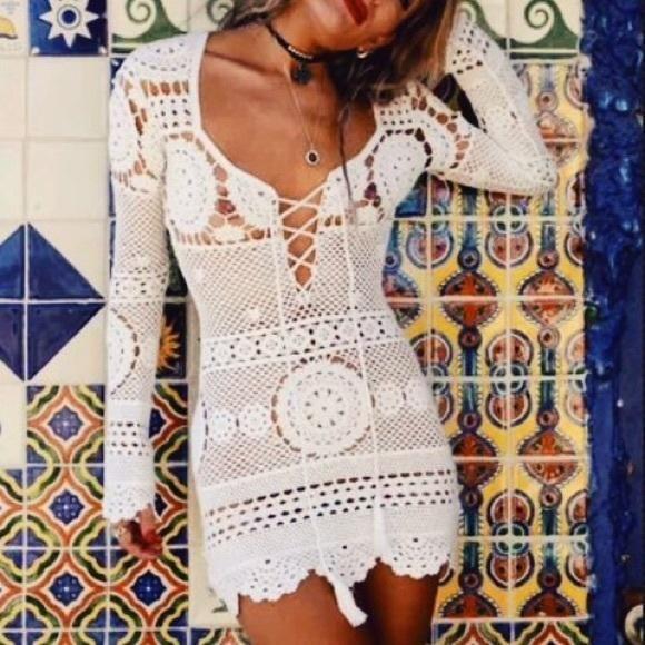 Desert Rose Dress White Crochet Lace Up Front Boho Mini Long Sleeve Mandalas Scallops Festival Fox Fits Small Medium Or Large Boho Mini Dress White Crochet Black Crochet Dress