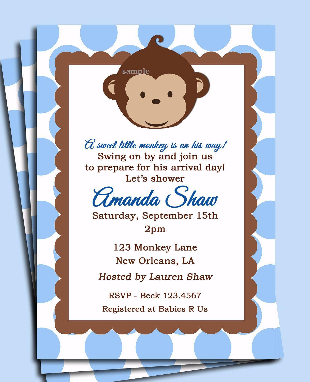 Baby Blue Monkey Invitation Printable -Monkey Birthday or Baby ...