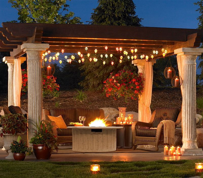 Fire Pit Under Pergola Pergola Pergola Lighting Backyard