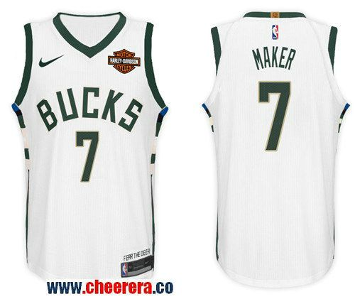 298bb6ee1 Men s Nike NBA Milwaukee Bucks  7 Thon Maker Jersey 2017-18 New Season White  Jersey
