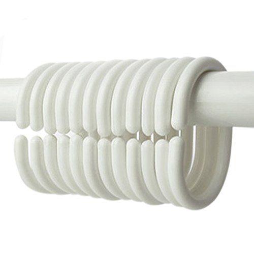 Pack Of 12 Shower Curtain Hook Hanger Plastic Ring Bath Drape Walk