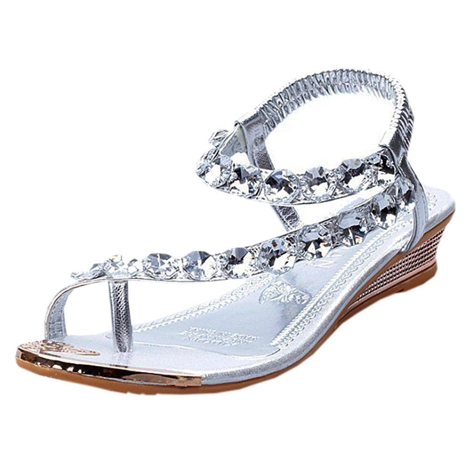Women's sandals with bling - Theplus Womens Fashion Rhinestone String Flip Flops Wedge Sandals Casual Shoes Details Can Be Found