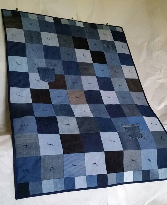 "All/'asta Patchwork Throw Blanket Denim Indigo Cotton Multi-color 39/"" x 90/"""