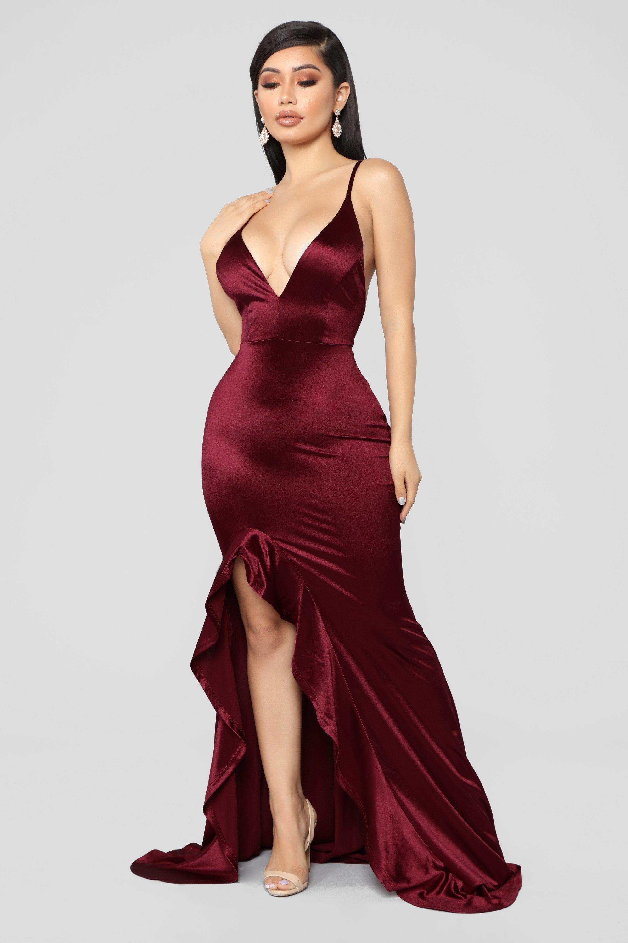 Temporary Love Satin Mermaid Dress Wine Fashion Nova Prom Dresses Satin Mermaid Dress Fashion Nova Dress [ 3936 x 2624 Pixel ]