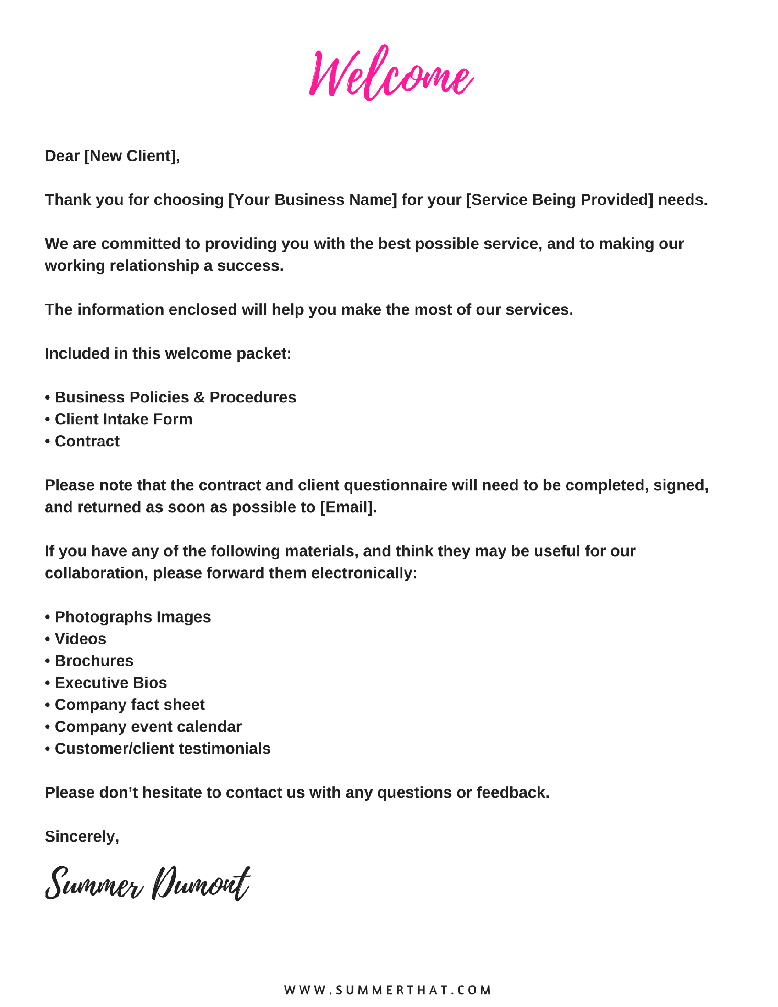Welcome Letter To Client