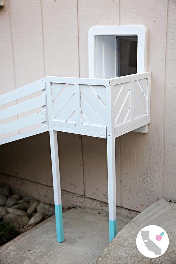 DIY Dog Door Ramp || California Peach || DIY, Dog, Dogs, Door, Dog Door, Dog Door Ramp, Ramp, Dipped, Dip, Blue, White, Railing, Modern, Contemporary, Small Dog, SureFlap, Pet Door,