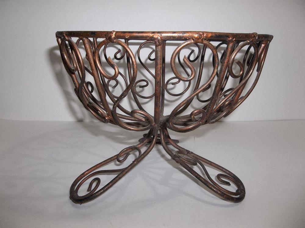 Vintage Mexican Wrought Iron Fruit Bowl Basket 8 5