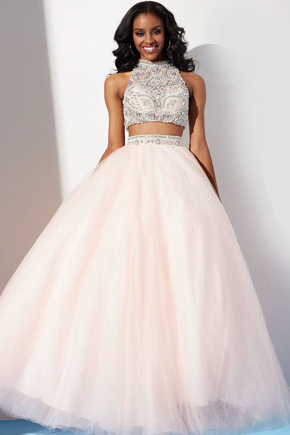 Jovani in stock blush size two piece jeweled tulle ballgown