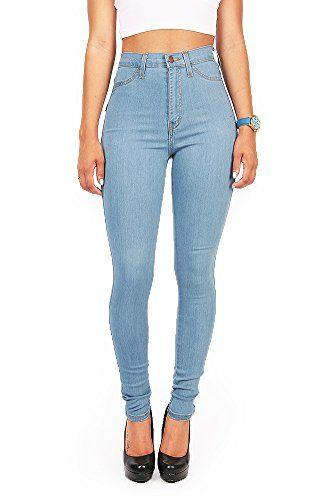 c4636635e909c7 Vibrant Women's Juniors Vintage High Waist Denim Skinny Jeans 15 Light Blue  Vibrant http:/