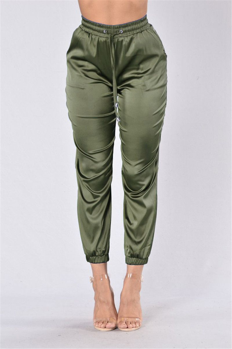 Casual Satin Drawstring Pants