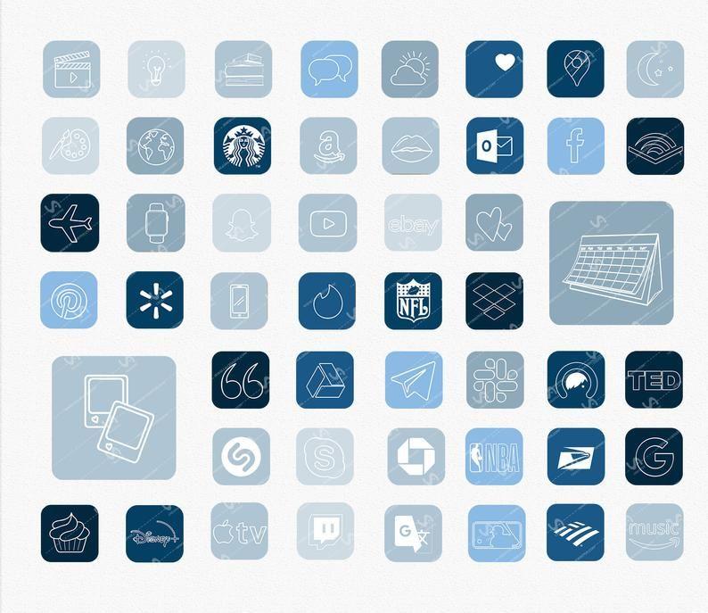 iOS 14 APP ICONS 127 ios14 Blue Aesthetic, Navy Bl