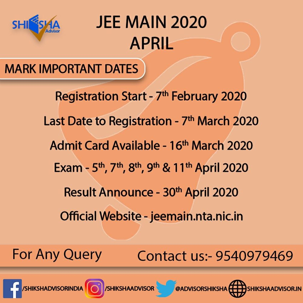 Jee Main Application Form Is Starting From 7th February 2020 For April Session Exam Result Has Been Released For Jee Main Jan Sess In 2020 Career Guidance Exam Career
