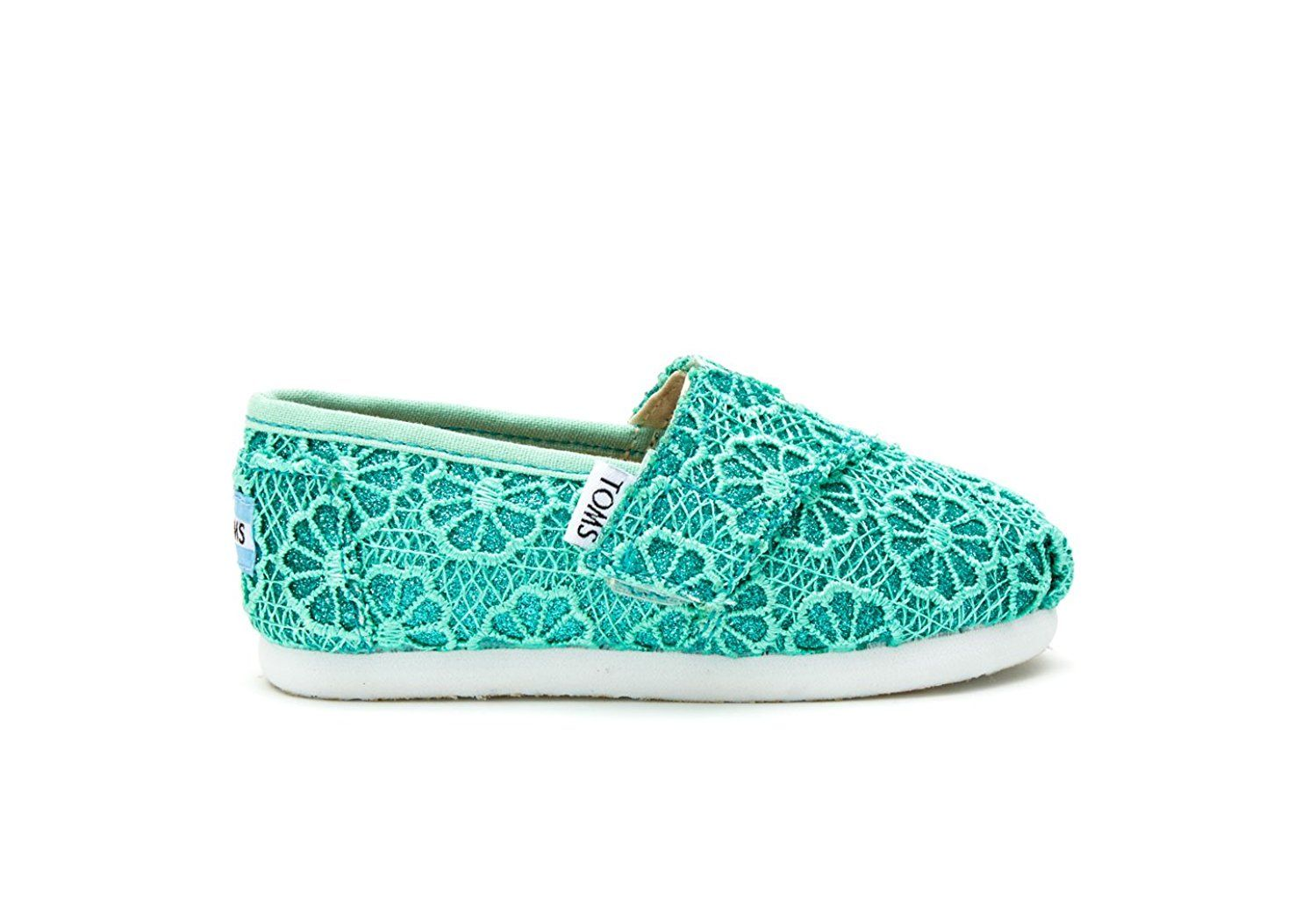 7613bc4941174 Amazon.com: Tom's Girl's Crochet Glitter Shoes, Mint Crochet Glitter ...