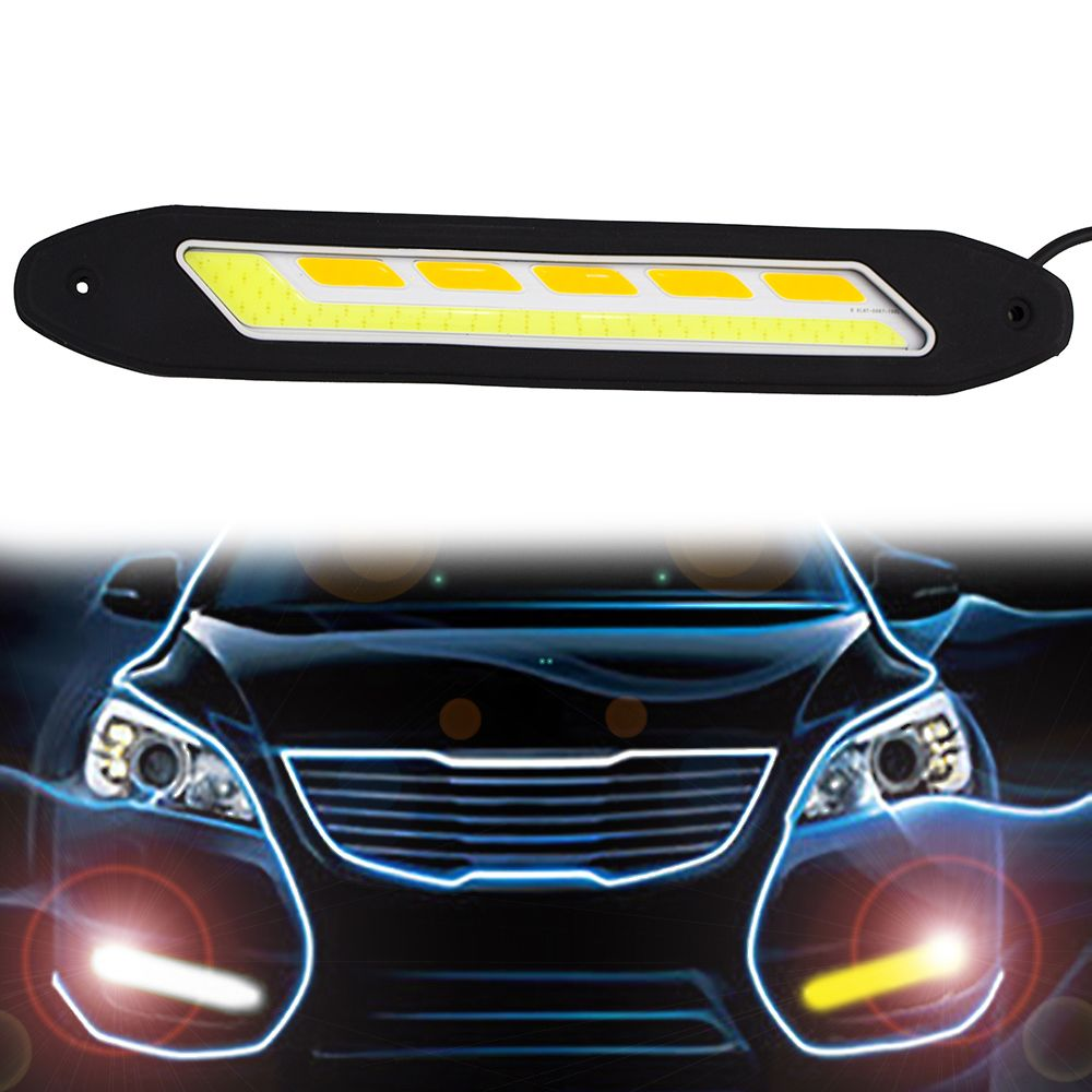 2 PZ Impermeabile Flessibile Bianco e Giallo Car Head Light COB LED Luci di marcia Diurna DRL Servosterzo Con Indicatore di Direzione CJ
