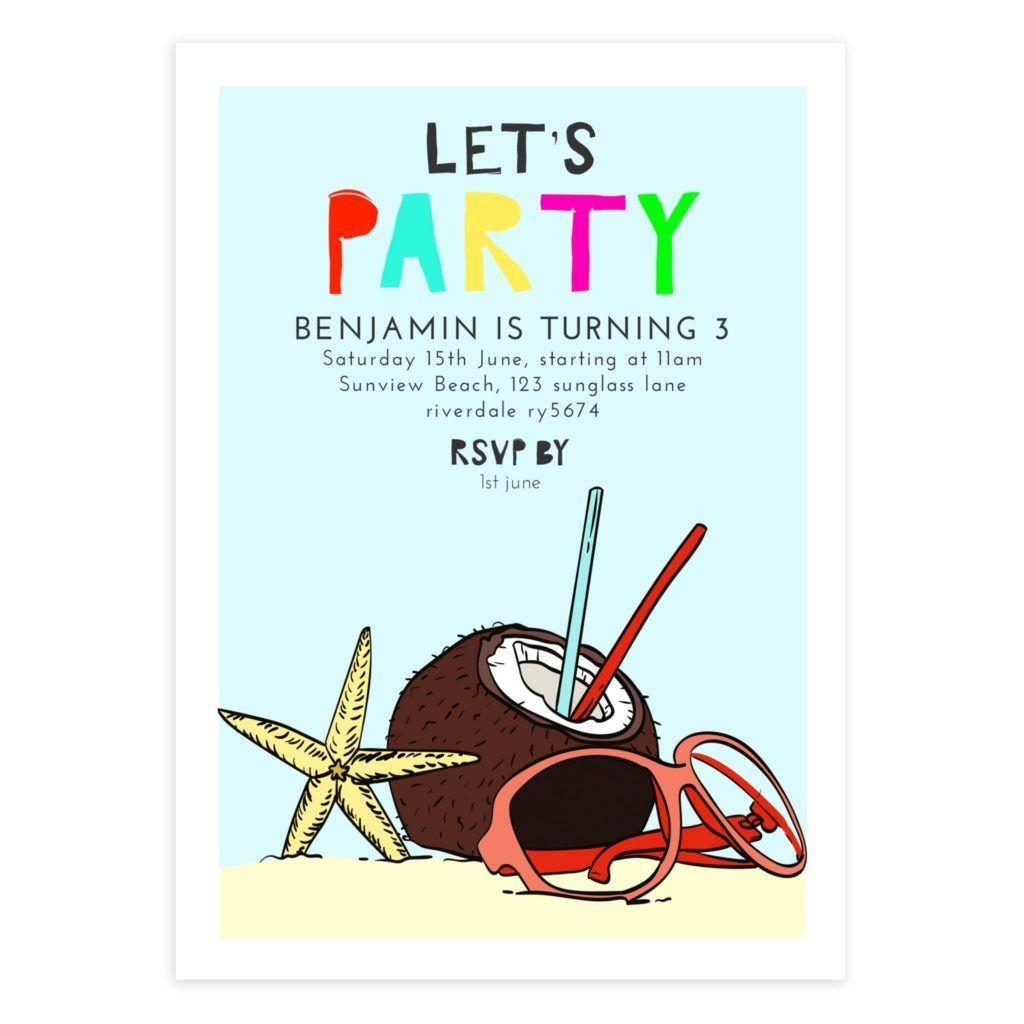 Summer Beach Invite Template 5x7 Mockaroon Birthday Party Invitations Printable Beach Birthday Party Printable Invitations