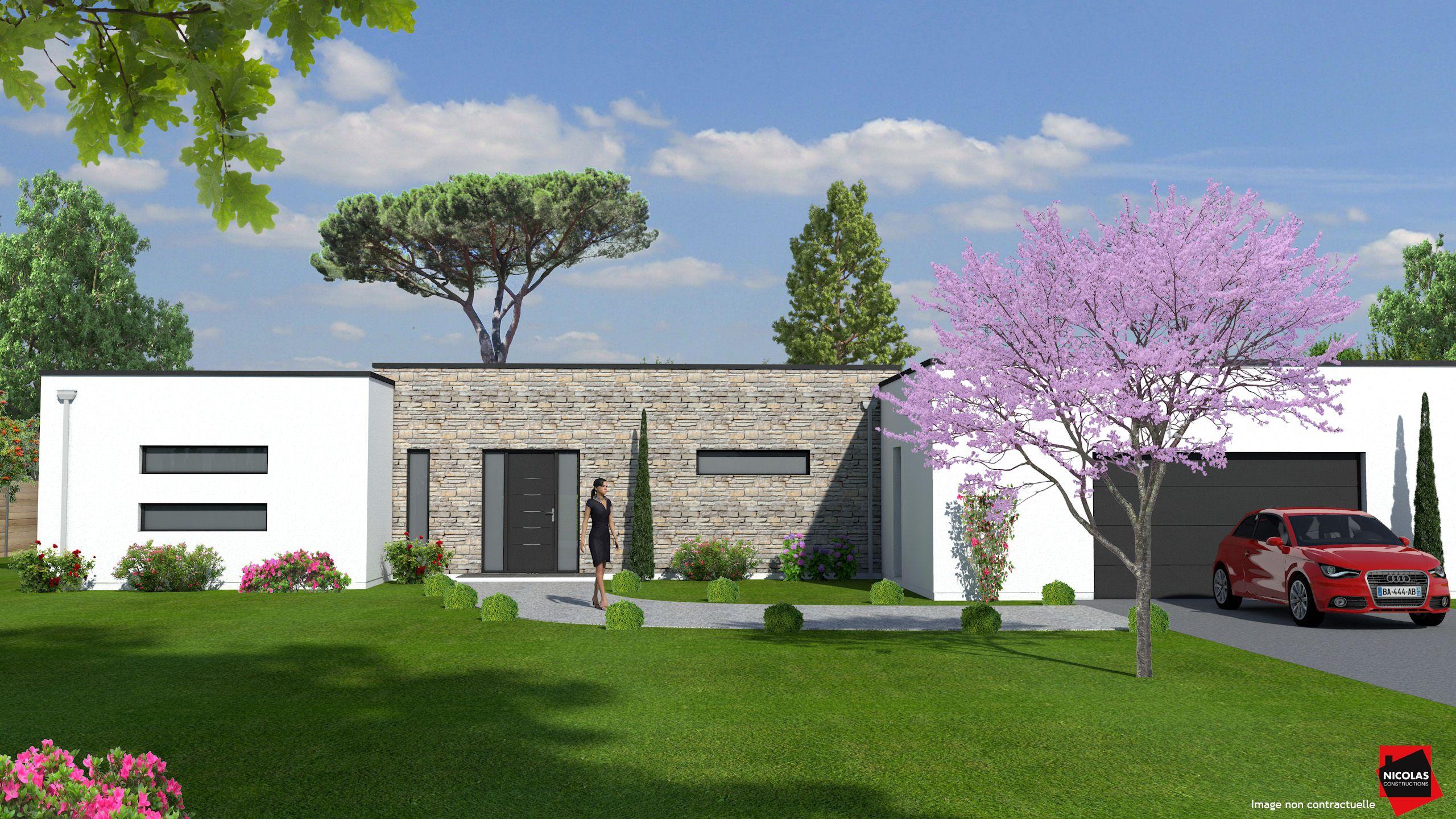 Maison en toit terrasse de 151 m² constructeur nicolas constructions image réalisée avec